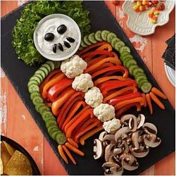 Skeleton Vegetable Board with Dill Vegetable Dip